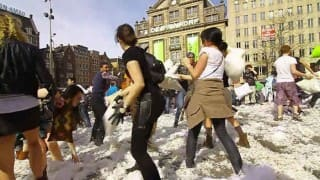 Greeks celebrate pillow fight day with anti-war message