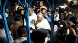 HCU security personnel stop Medha Patkar from entering campus