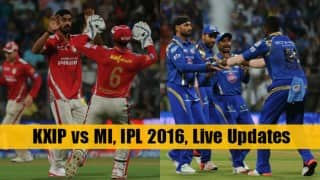 MI beat KXIP by 25 runs | LIVE Score Kings XI Punjab (KXIP) vs Mumbai Indians (MI) IPL 2016 Match 21: KXIP 164/7 in 20 Overs (Target 190)