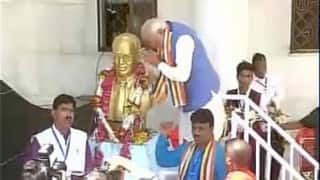 Narendra Modi pays homage to Babasaheb Ambedkar at his birthplace in Mhow