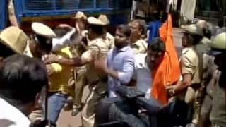 Police detain ABVP activists protesting over Class 12 question paper leak in Bengaluru