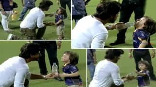IPL 2016 KKR Vs KXIP: You just can't get enough of Shah Rukh Khan and AbRam playing with water in this super cute video!