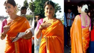Aishwarya Rai Bachchan looks breathtakingly beautiful in orange and pink sari for Sarbjit promotions! See pictures