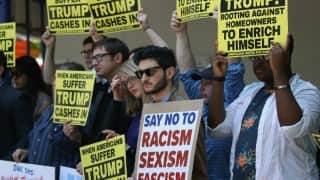Protests turn violent outside Donald Trump's rally; clashes erupt