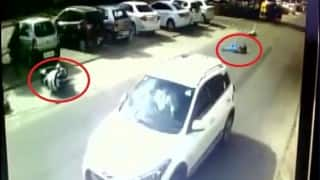 Caught on Camera: CCTV captures horrific road accident in Ahmedabad, victim miraculously alive! (Watch video)