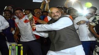 BJP inaugurates cricket league in Ahmedabad, Amit Shah shows his batting skills (Watch Video)