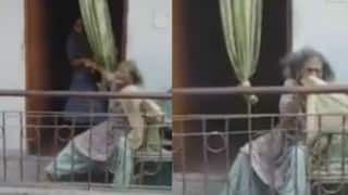 Shocking: Elderly woman gets beaten by her family member (Watch Video)