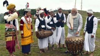 Narendra Modi plays traditional Khasi drum in Meghalaya