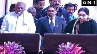 Jayalalithaa takes oath as Tamil Nadu chief minister, MK Stalin attends swearing-in ceremony, Karunanidhi skips