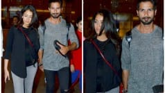 Mira Rajput shows off baby bump, with Shahid Kapoor in tow at Mumbai airport