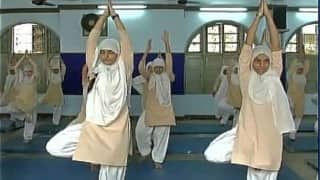 Students at Anjuman-e-Islam school practice Yoga to help with Ramzan fasting