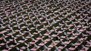 International Yoga Day: Record-breaking Yoga Day events begin