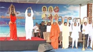 Ramdev, Amit Shah participate in Yoga day function