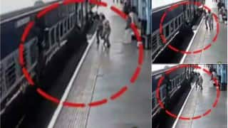 Caught on camera: Man nearly dragged to death by train in Lonavla, saved by police (Watch Video)