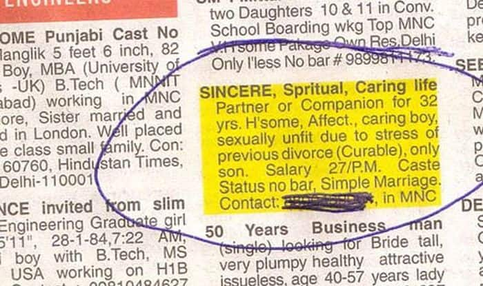 funny dating ads in newspapers