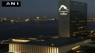 UN headquarters lit up ahead of International Yoga Day