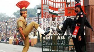Rocks pelted from Pakistan side during beating retreat at Wagah