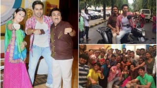 Varun Dhawan performs Garba with Dayaben & Jethalal on sets of Taarak Mehta Ka Ooltah Chashmah