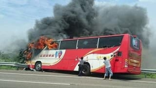 China: 26 dead as tourist bus catches fire after crashing into guardrail in Taiwan