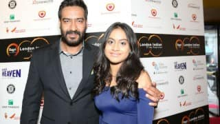 Ajay Devgn walks with daughter Nysa on the red carpet of London Indian Film Festival