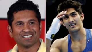 Sachin Tendulkar wishes good luck to Vijender Singh for title fight