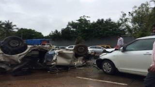 Mumbai: 3 killed as car turns turtle, lands atop kaali peeli on Eastern freeway near Chembur; traffic affected