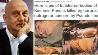 Anupam Kher is being slammed on Twitter for sharing THIS disturbing pic on Kashmiri Pandits!