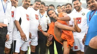 Baba Ramdev stole the show in a Bollywood vs Politicians charity football match. Here is the proof!