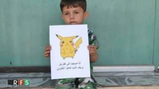 These Syrian children hold images of Pokémon hoping to be rescued from warzone
