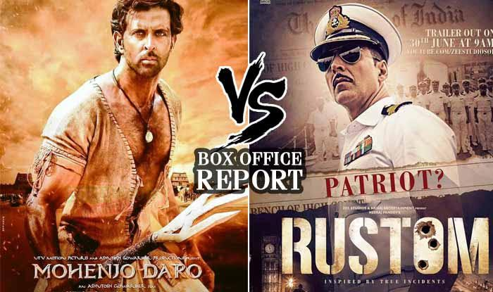 Is Akshay Kumar's Rustom doing better than Hrithik Roshan's Mohenjo Daro at Box Office?