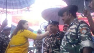 Maneka Gandhi ties rakhis to SSB jawans at India-Nepal border