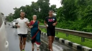 Now, Milind Soman's sari-clad mother Usha Soman joins him barefoot in The Great India Run! (Video)