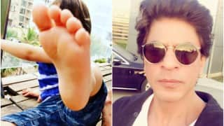 Oops! You cannot imagine how Shah Rukh Khan reacted on being kicked by AbRam