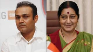 Tweep of the year: Virender Sehwag feels unparalleled to the works of Sushma Swaraj. Wins internet with his humility