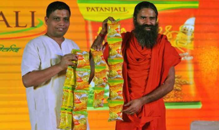 Patanjali patron Ramdev with his line of Patanjali noodles. (File image)