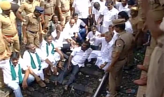 Image result for Rail Roko' protest called by the Tamil Nadu opposition party DMK today turned violent