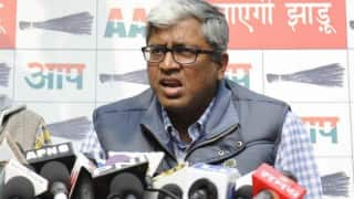 Protest against AAP leader Ashutosh by Delhi Youth Congress