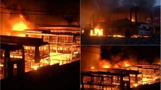 Cauvery water dispute: Over 56 buses set on fire at KPN bus depot near Bengaluru (Watch Video)