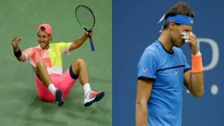 Lucas Pouille stuns Rafael Nadal to lead French charge into US Open quarters