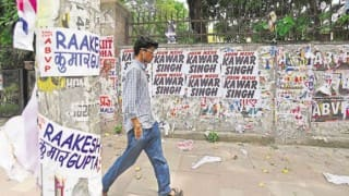 Delhi University Campus Littered With Election Campaign Posters