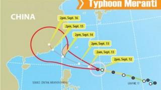 ताइवान में तूफान 'मेरांती' की चेतावनी