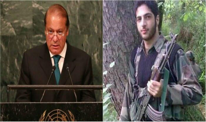 Nawaz Sharif (L) glorified terrorist Burhan Wani on a global stage