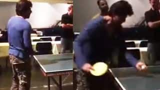 Insanely cute! Shah Rukh Khan plays ping pong with a fan on the sets of The Ring!