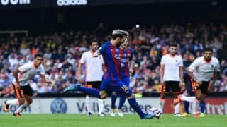 Injury time penalty gives Barcelona key win against Valencia