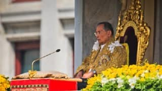 Thailand king Bhumibol Adulyadej's body at Grand Palace for people to pay respects