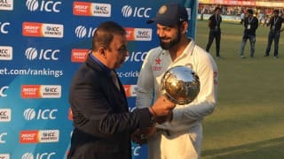 India top ICC Test ranking, presented with Test Championship mace