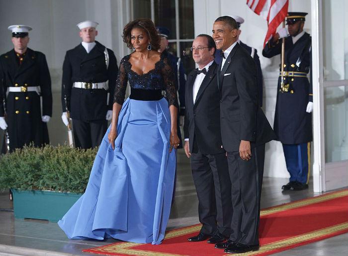 Michelle Obama in Carolina Herrera for France State Dinner