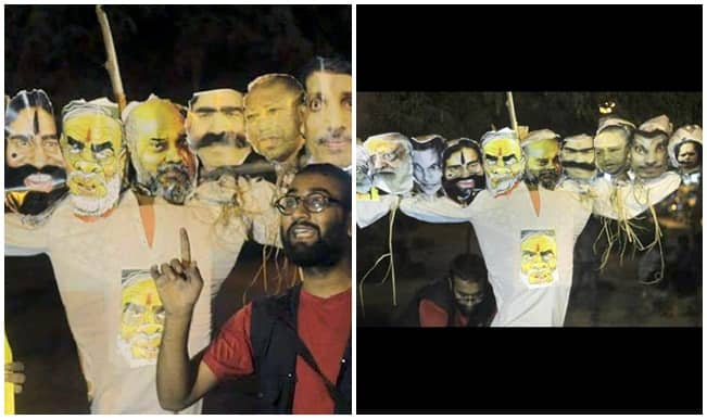 Gallery : JNU and BHU students burn effigy of Narendra Modi on Dussehra