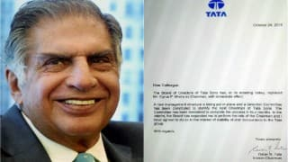 Ratan Tata writes letter to employees after removing Cyrus Mistry from chairman post