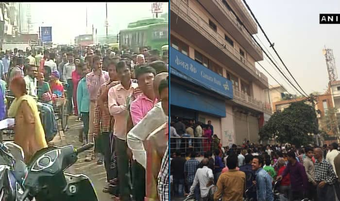Long queues of cash-strapped customers at ATMs in Mumbai